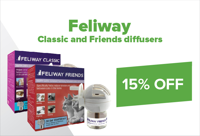 Save 15% off Feliway Friends or Classic